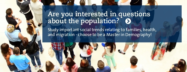 Text: Choose to be a Master in Demography! Photo: Big crowd of people / Mostphotos