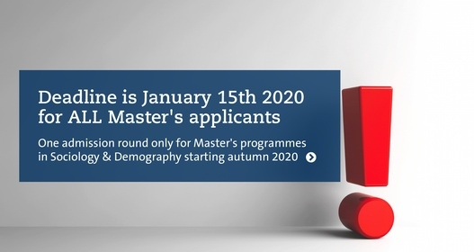 Deadline January 2020 for all Master's applicants in Sociology & Demography.Photo:Mostphotos